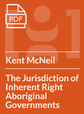 The Jurisdiction of Inherent Right Aboriginal Governments